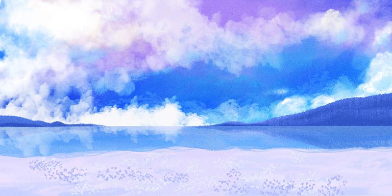 藍天白云海灘背景手繪插畫素材