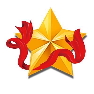 立體五角星紅色絲帶五角星黨政黨建黨課建軍節建黨節素材