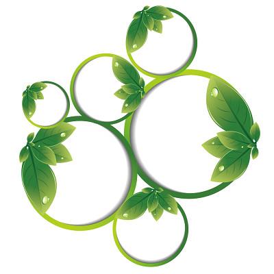 矢量綠色樹葉夏天邊框創意葉子邊框免摳圖