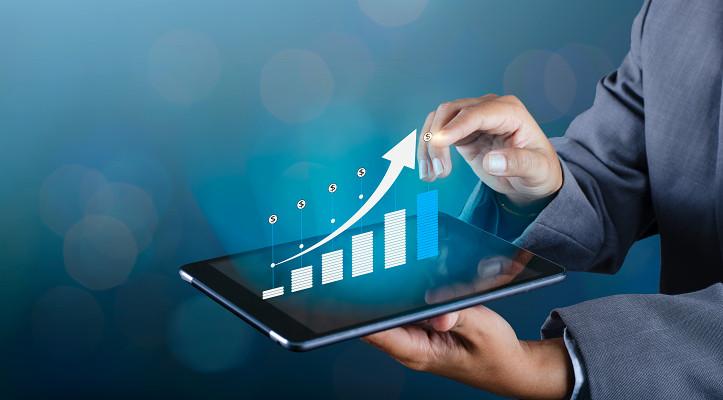 藍色金融商務科技平板電腦背景素材