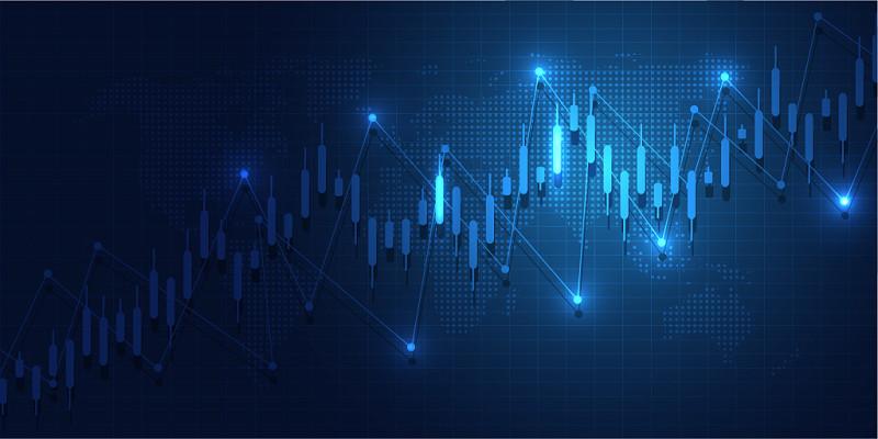 藍色金融商務科技K線圖走勢圖背景素材