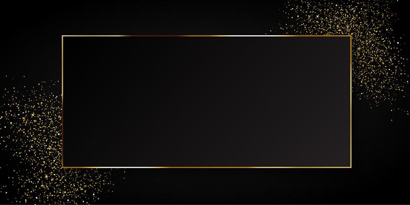 黑金背景黑色磨砂背景大氣金粉質感邊框黑色背景