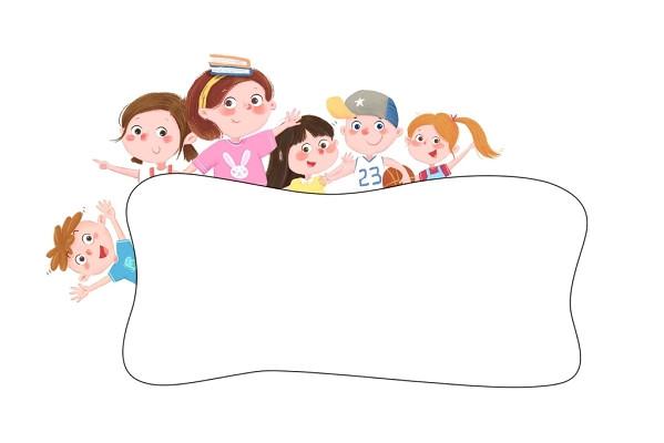 小人開學季卡通兒童人物培訓班邊框素材