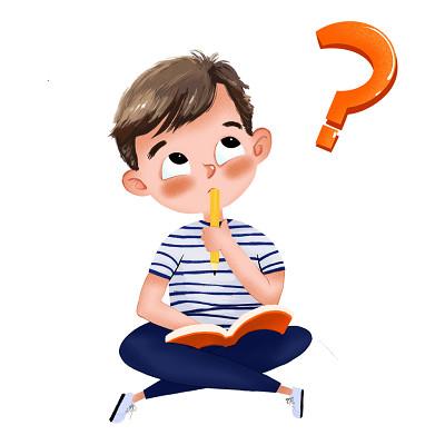 小人卡通肌理手繪兒童思考人物素材