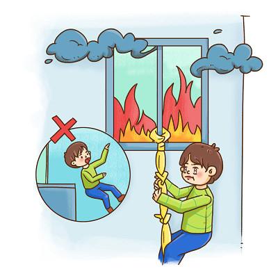 卡通插畫火災逃生疏散自救常識手繪人物素材