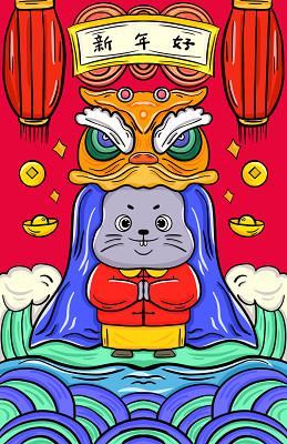 卡通手繪鼠年原創插畫背景