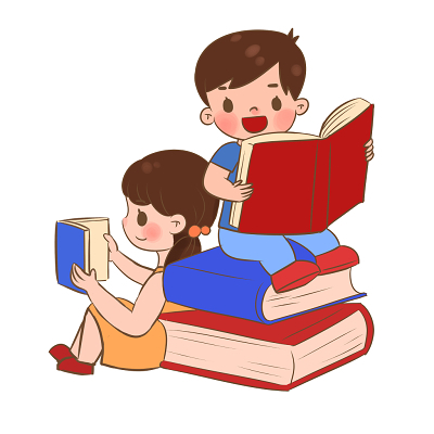 手繪卡通兒童開學季學生讀書人物素材