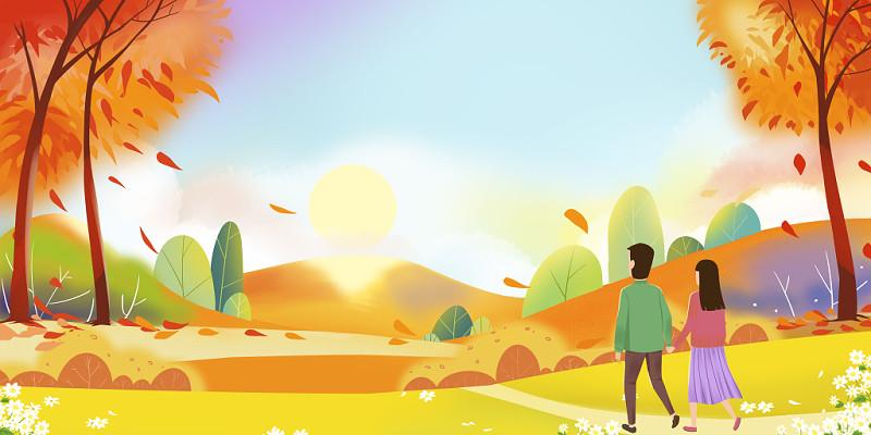 手繪秋天夕陽海報背景素材