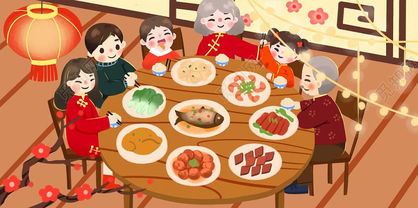 過新年插畫插畫鼠年插畫新年插畫手繪卡通新年年夜飯團圓飯背景素材