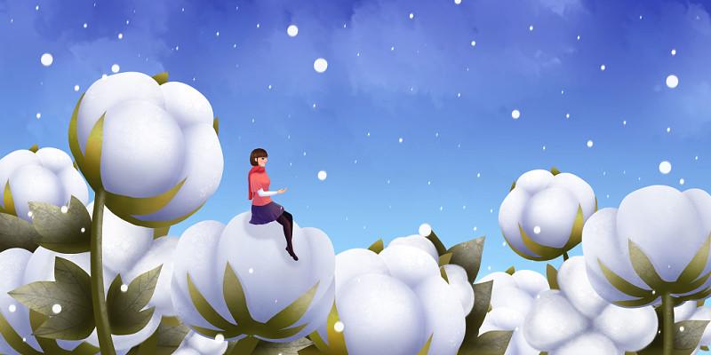 卡通手繪霜降棉花季節原創插畫背景