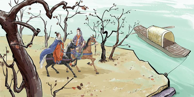 中國風古風霜降旅游人物原創插畫