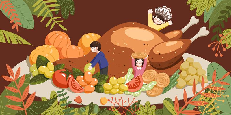 手繪卡通感恩節美食狂歡背景節日插畫