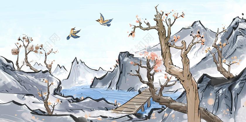 中國風古風霜降花鳥植物原創插畫素材