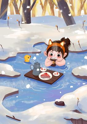 卡通冬季大雪泡溫泉少女風景卡通插畫