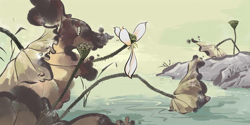 中國風霜降荷花植物原創插畫素材
