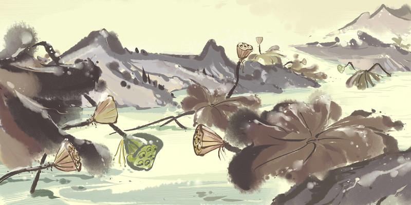 中國風秋天霜降荷花植物原創插畫