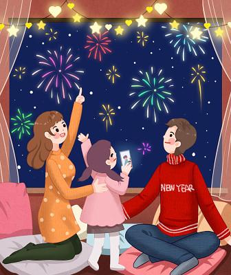 節日卡通手繪新年春節習俗視頻拜年原創設計素材