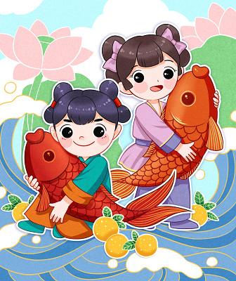 兒童插畫節日卡通手繪新年春節新年錦鯉福娃原創設計素材