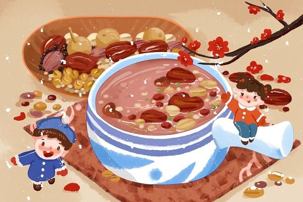 兒童插畫手繪孩子和臘八粥玩臘八節背景海報素材