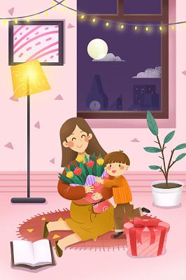 節日手繪給媽媽送花的男孩感恩節背景海報素材