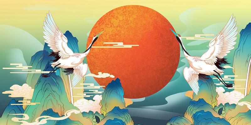 中國風山水仙鶴國潮雙十一背景海報素材