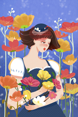 手繪少女與花婦女節背景海報素材