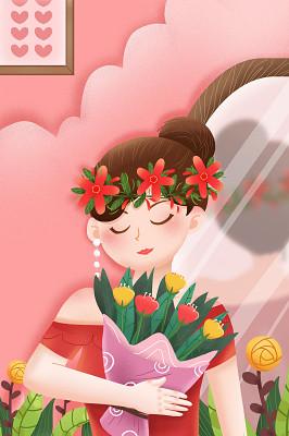 手繪38婦女節手上捧著花束的美麗女人婦女節背景海報素材