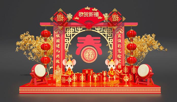 C4D中國風新年過年美陳立體素材工程文件
