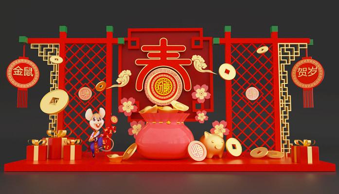 C4D立體風新年賀歲美陳裝飾素材源文件