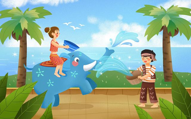 手繪互相潑水祝福的小人潑水節背景海報素材