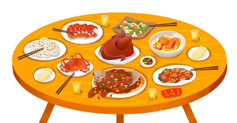 卡通手繪春節年夜飯團圓飯聚餐