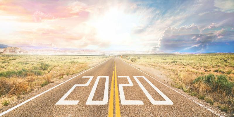 迎接2020大氣唯美夕陽公路奔跑勵志背景