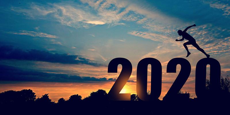 迎接2020大氣唯美夕陽奔跑勵志背景