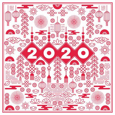 中國風2020新年春節剪紙圖案素材