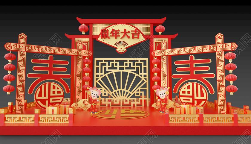 門頭門樓新年拱門過新年春節布置春節C4D紅色新年美陳裝飾源文件