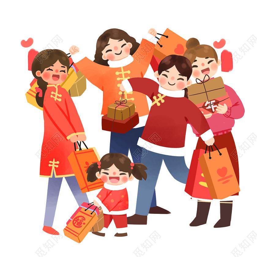 新年主題鼠年親子一家人插畫春節插畫