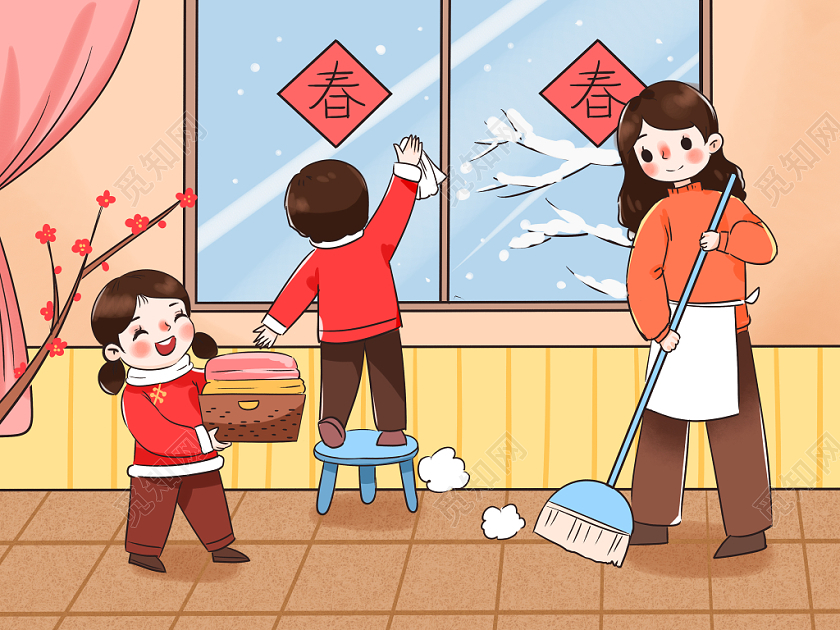 卡通春節小年插畫手繪打掃衛生小年背景海報素材