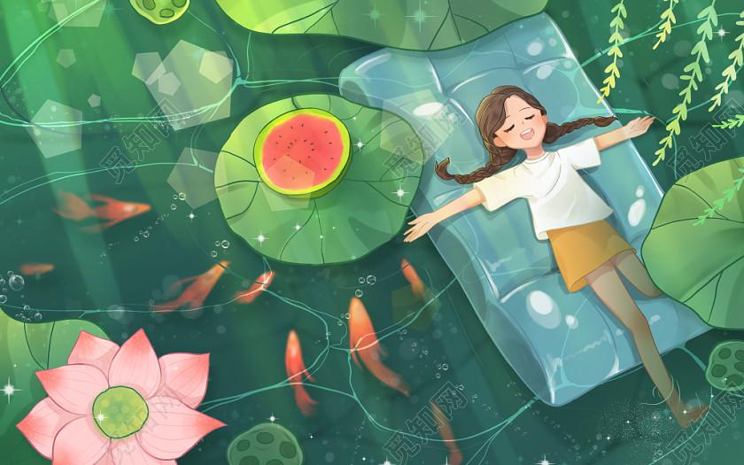 夏天海報背景夏天背景卡通手繪夏天俯瞰水面原創插畫素材海報