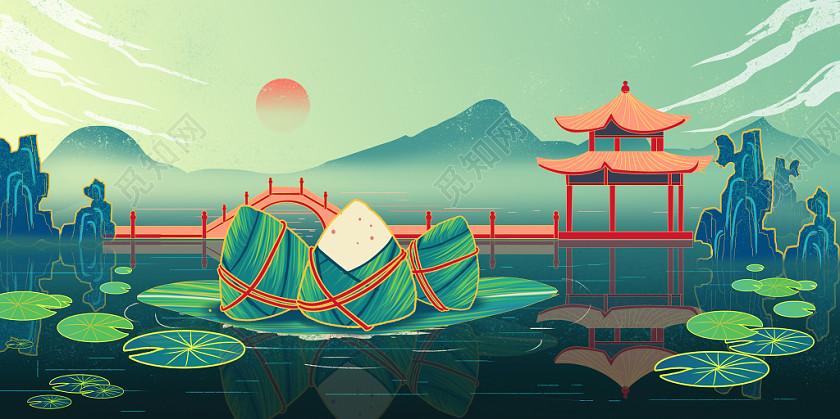 海報背景背景國潮端午節端午唯美古風風景杭州西湖插畫海報