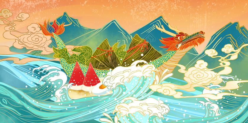 國潮中國風手繪端午節端午龍舟粽子美食原創插畫素材