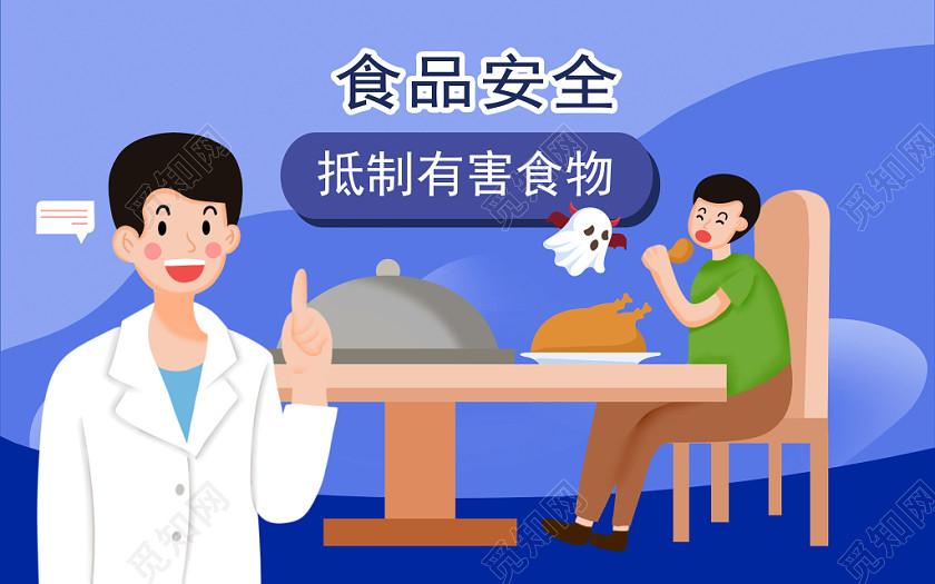 醫生提示食品安全問題卡通手繪原創插畫海報