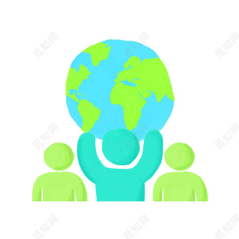 世界人口日元素人物地球PNG素材