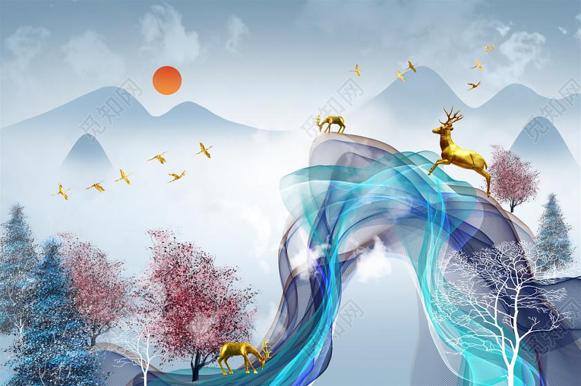輕奢北歐藍紅燙金森林麋鹿山水裝飾畫插畫設計素材