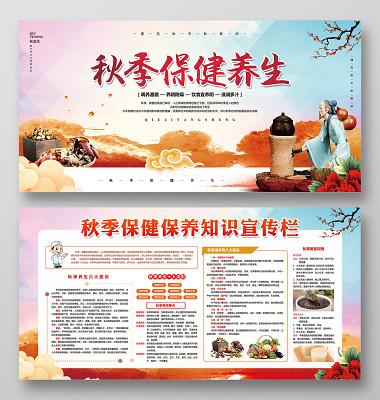 水彩水墨秋天秋季保健養生健康教育知識宣傳欄展板設計