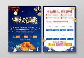 中秋佳節藍色炫酷大氣中秋超市促銷宣傳單