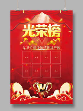 紅色系企業銷售業績光榮榜海報
