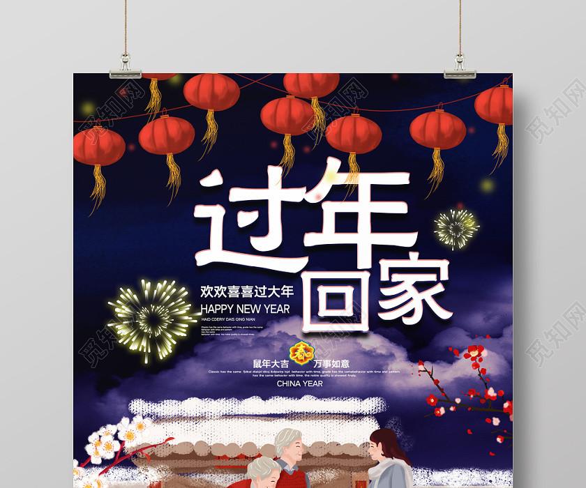 2020鼠年新年過年回家宣傳海報