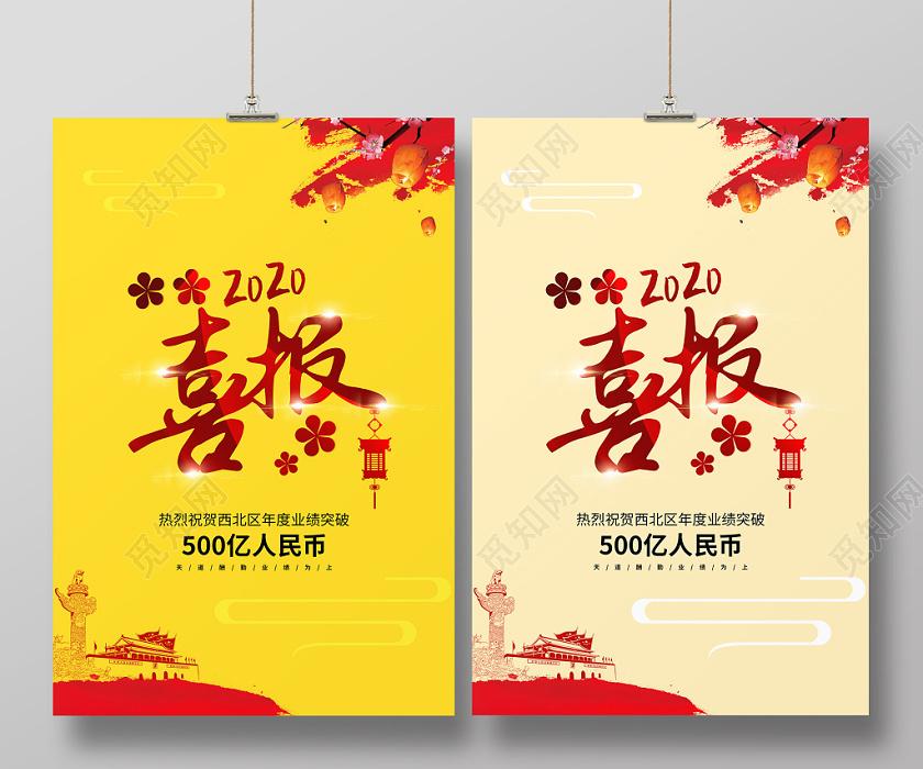 中式中國風2020業績喜報雙面海報