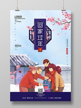 春節回家淺藍色插畫雪景一家人回家過年2020鼠年新年海報