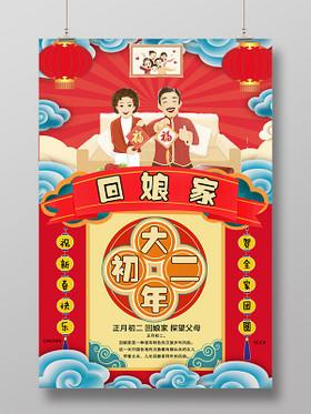 春節習俗紅色國潮風大年初二回娘家新年2020海報